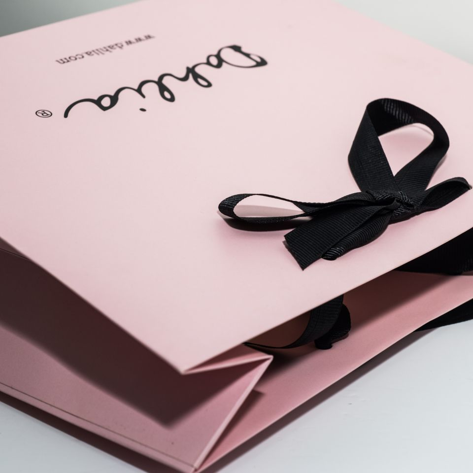 Luxury Laminated Bags with Ribbon Handles