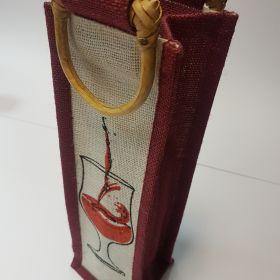 Jute bag - single wine bottle