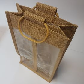 Jute bag with windows - twin wine bottle bamboo handles
