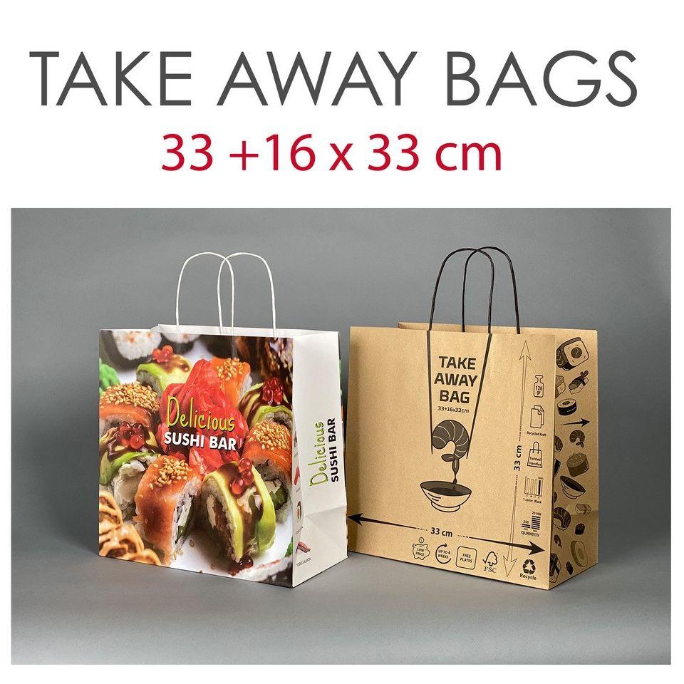 Printed Kraft Takeaway carrier bags