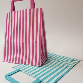Stripes - Kraft Bags with Flat Tape Handles